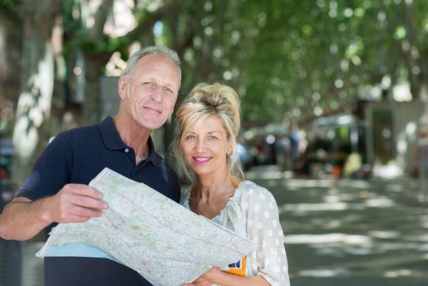 Seniorenpaar Karte Stadt