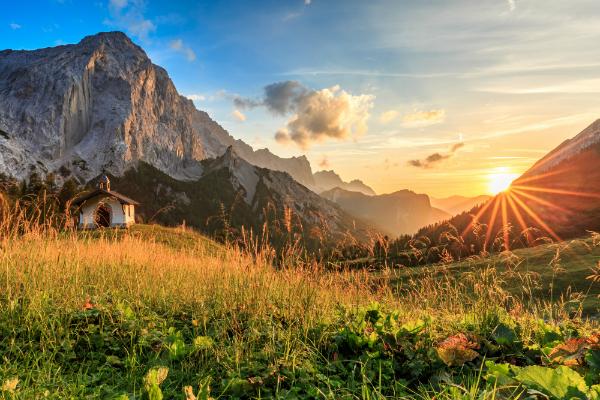 Sonnenuntergang auf der Hallerangeralm im Karwendel