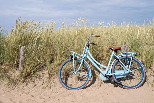 Blaues Fahrrad in den niederlaendischen Duenen