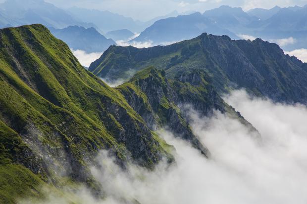 """Der Berggipfel """"Nebelhorn"""" in der Nähe von Obersdorf"""