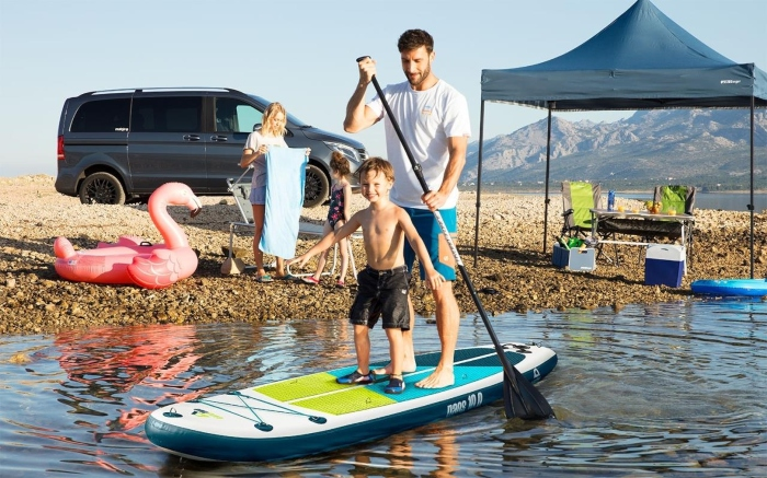 Camptime Naos 10-0 SUP Set aufblasbares Stand Up Paddling-Board inkl Paddel und Luftpumpe familienfreundliche Campingplätze
