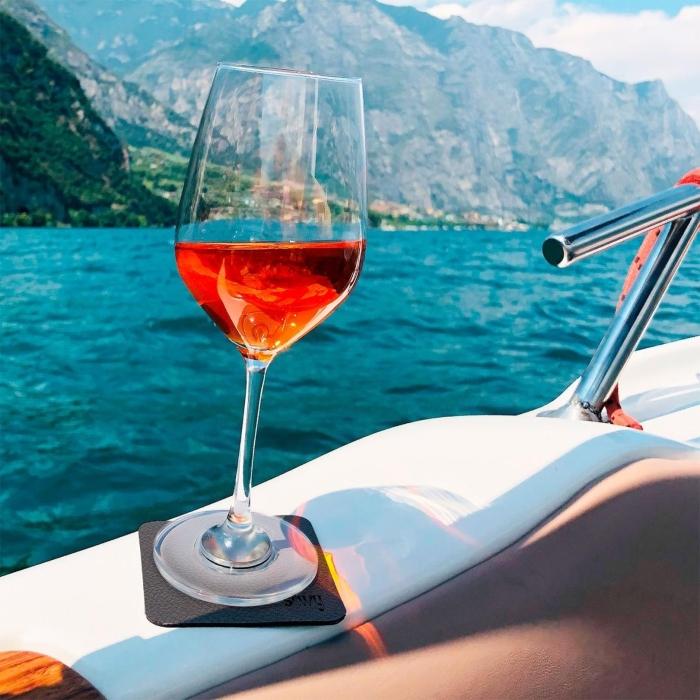 Silwy Magnet-Kristallglaeser Wein mit Untersetzer 2er Set