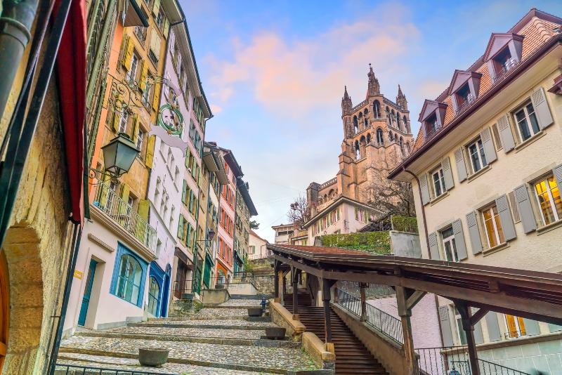 Innenstadt von Lausanne in der Schweiz