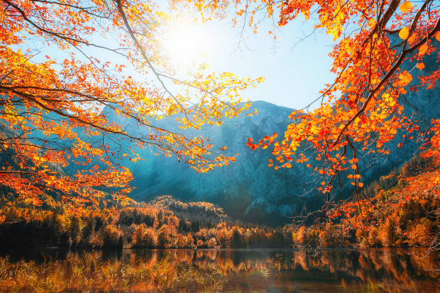 Herbstlandschaft am See - Camping im Oktober