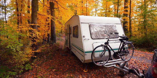 Anhänger im Herbstwald - Camping im Oktober
